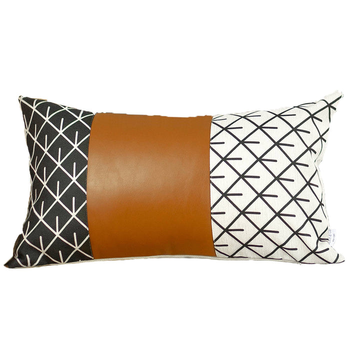 "Decorative Brown Faux Leather Pillowcase 12""x20"""