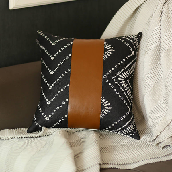 "Decorative Black&Brown Vegan Faux Leather Pillowcase 17""x""17"