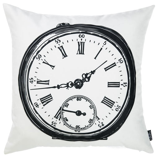 "Black and White Clock Decorative Throw Pillow Cover Printed Home Decor 18""x18"""