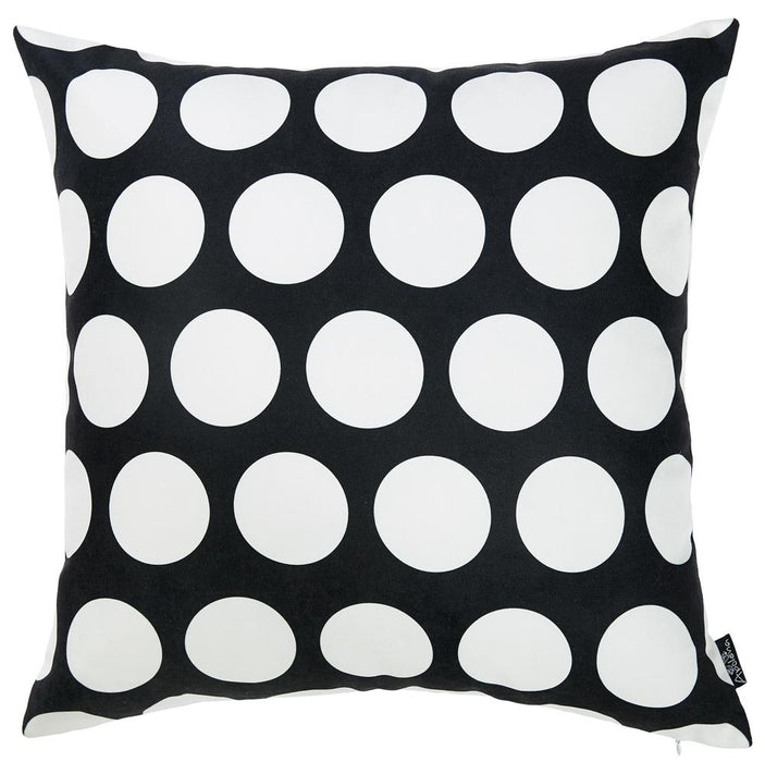"Black and White Dots Decorative Throw Pillow Cover Square  Home Decor 18""x 18"""