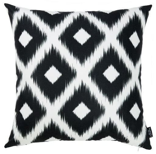 "Black and White ikat Decorative Throw Pillow Cover Square Home Decor 18""x 18"""