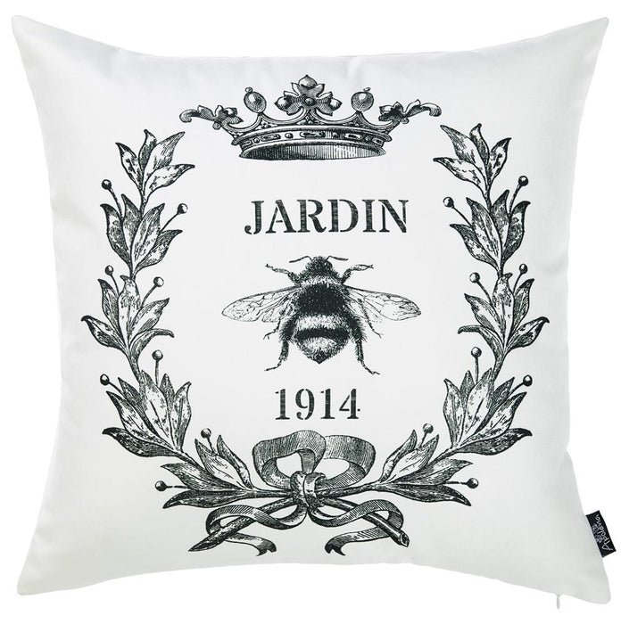 "Black and White Jardin Decorative Throw Pillow Cover Home Decor 18""x 18"""