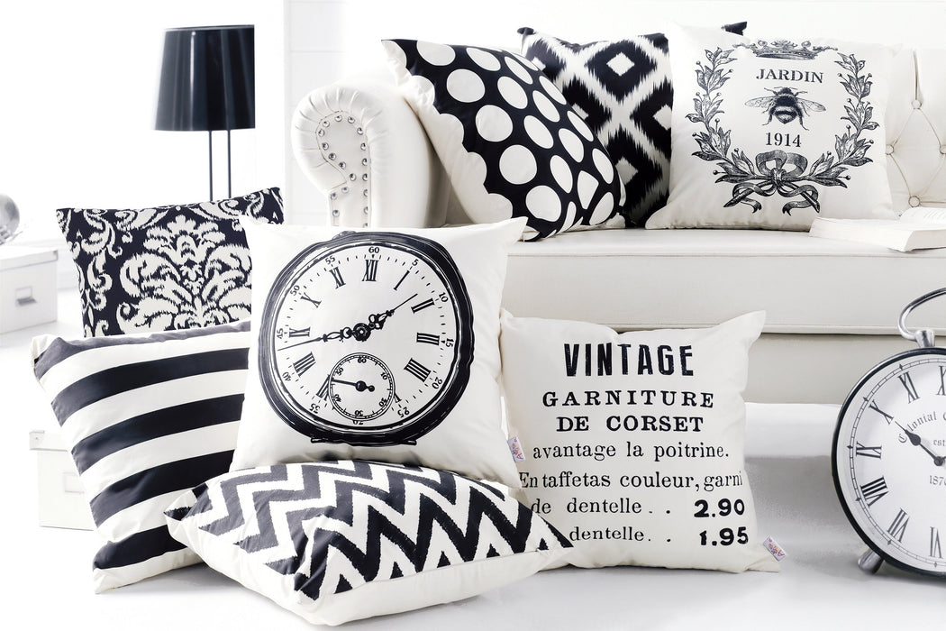 Black and White Jardin Decorative Throw Pillow Cover Home Decor 18 Òx 18