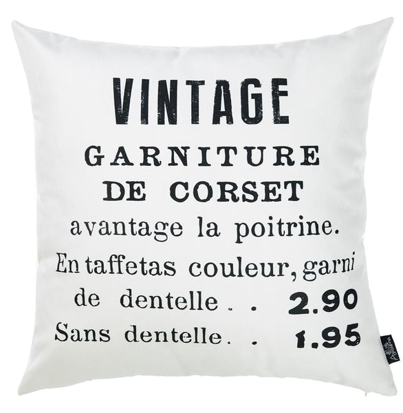 "Black and White Vintage Decorative Throw Pillow Cover  Home Decor 18""x 18"""