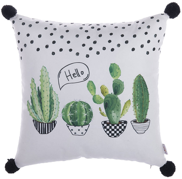 Cactus Square  PomPom Decorative Throw Pillow Cover Home Decor Pillowcase 18''x 18''