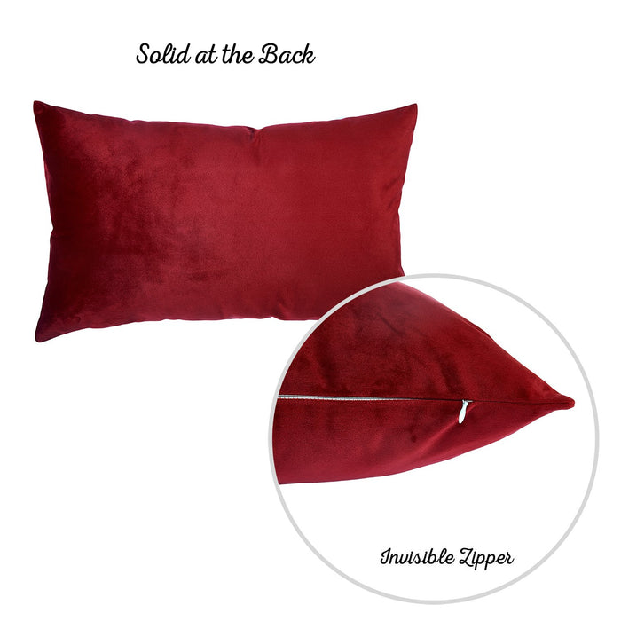 Velvet Red Decorative Throw Pillow Cover Home Decor 14''x 21''