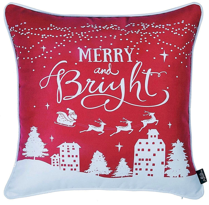"Christmas Snow Red Printed Throw Pillow Cover Christmas Gift 18""x18"""