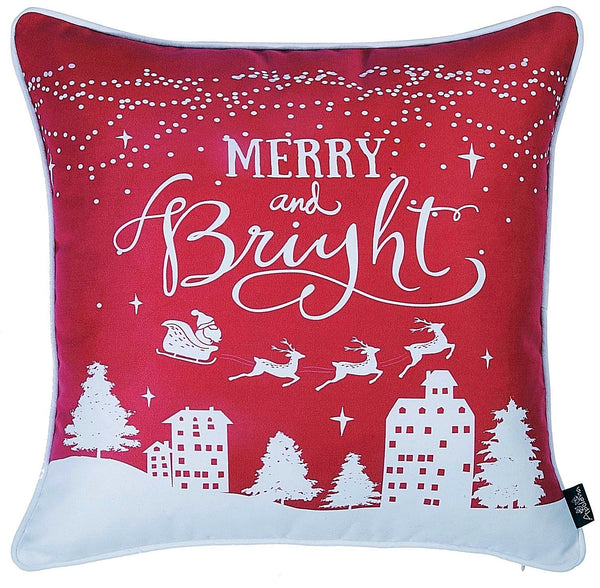 "Christmas Red   Printed Decorative Throw Pillow Cover Home Decor 18""x18"""