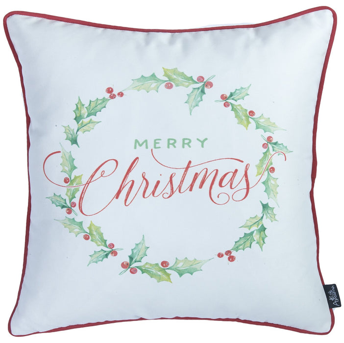 "Christmas Plants Printed Decorative Throw Pillow Cover Home Decor 18""x18"""