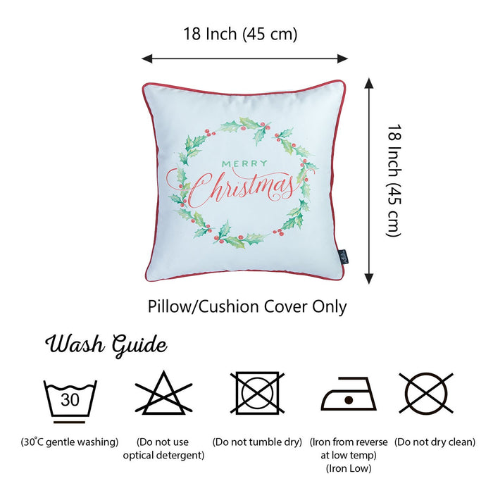 Christmas Plants Printed Decorative Throw Pillow Cover Home DŽcor