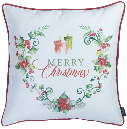 "Christmas Flowers Printed Decorative Throw Pillow Cover Home Decor 18""x18"""