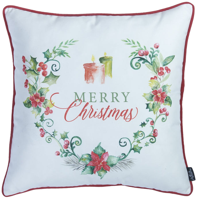"Christmas Flowers Decorative Throw Pillow Cover Christmas Gift 18""x18"""
