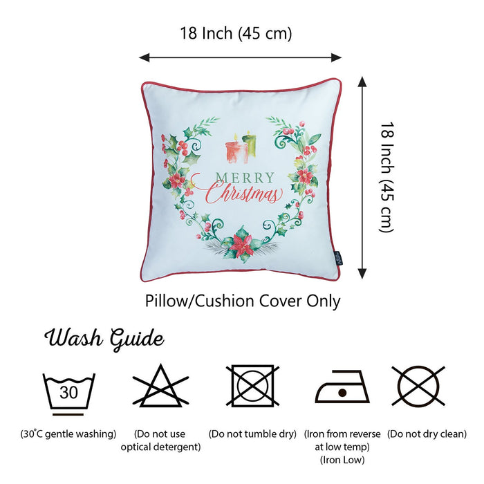Christmas Flowers Printed Decorative Throw Pillow Cover Home DŽcor