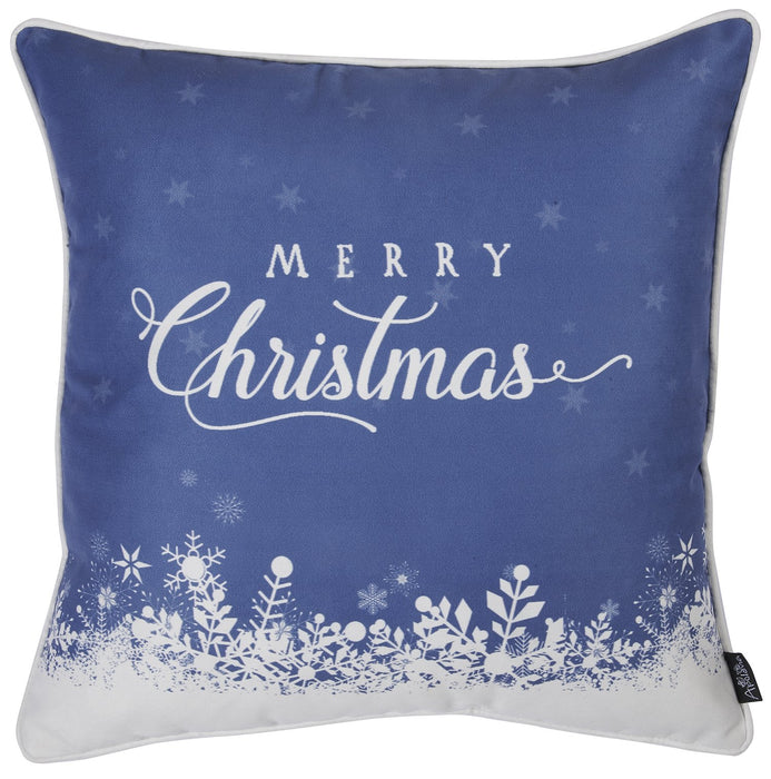 "Christmas Snow Blue Printed Throw Pillow Cover Christmas Gift 18""x18"""