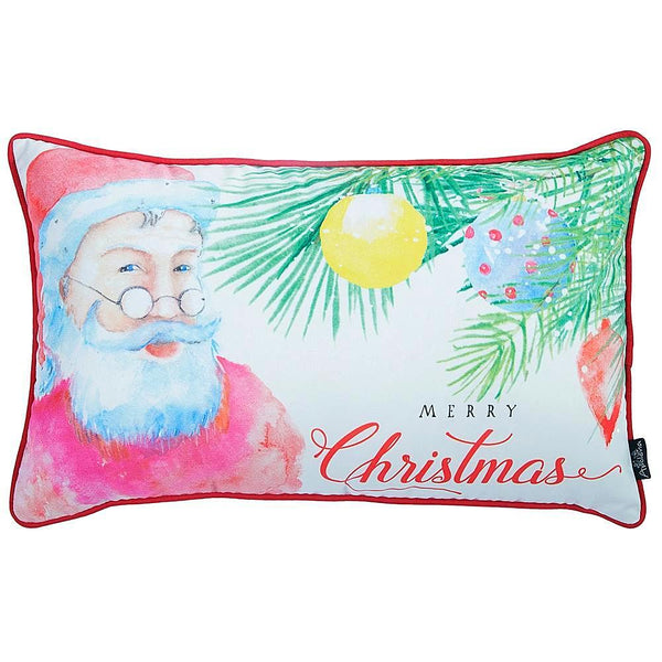 Christmas Santa Printed  Decorative Throw Pillow Cover Home Decor 12''x 20''