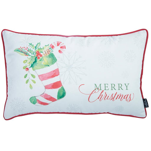 Christmas Socks Printed Decorative Throw Pillow Cover Home Decor 12''x 20''