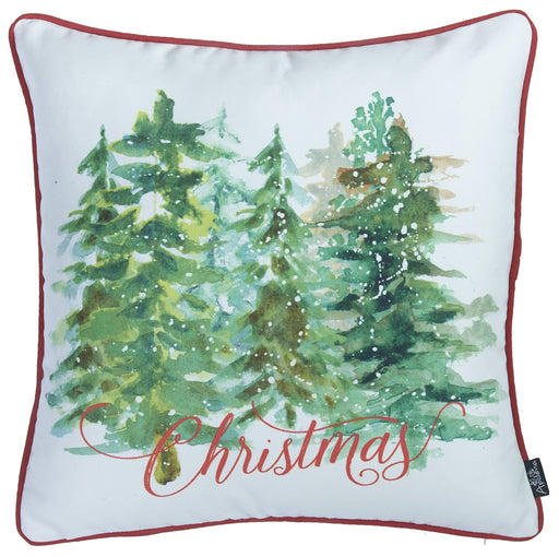 "Christmas Trees Printed Decorative Throw Pillow Cover Home Decor 18""x18"""