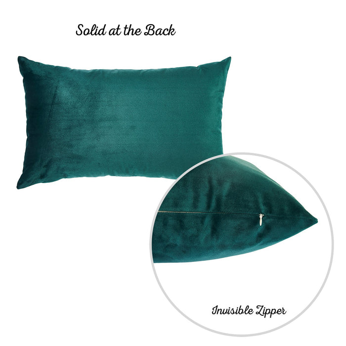 Velvet Dark Emerald Green Decorative Throw Pillow Cover