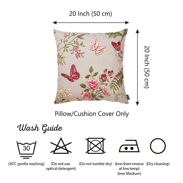 Easy Care Butterfly Floral Decorative Throw Pillow Cover Printed Home Decor 20''x20''
