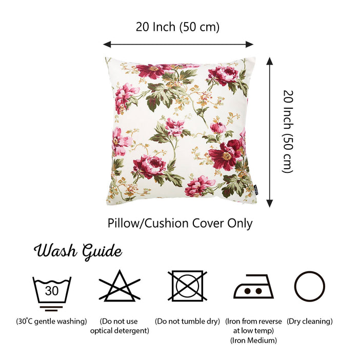 "Easy Care Fushia Floral Floral Decorative Throw Pillow Cover Home Decor 20""x20"""