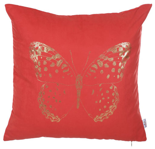 Happy Square Gold Butterfly  Printed Decorative Throw Pillow Cover Home Decor Pillowcase 18''x 18''