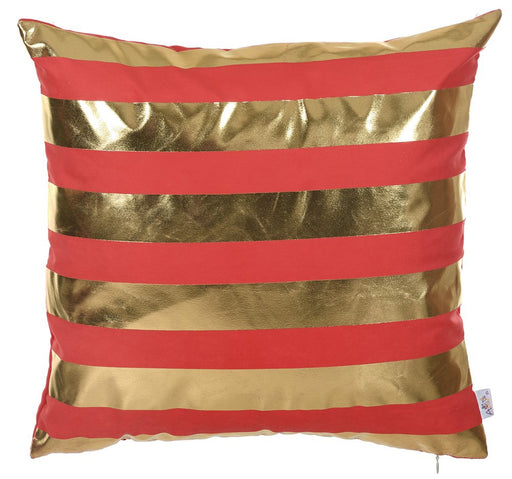 Happy Square Gold Stripes  Printed Decorative Throw Pillow Cover Home Decor Pillowcase 18''x 18''