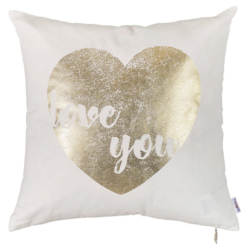 Happy Square Heart Printed Decorative Throw Pillow Cover Home DŽcor Pillowcase