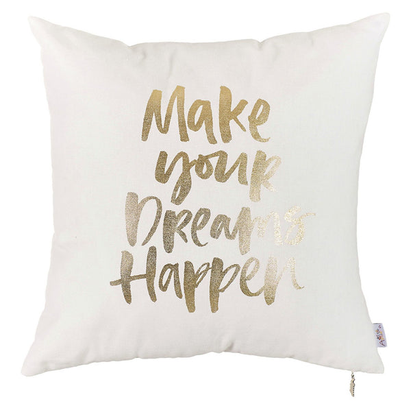 Happy Square Quote Printed Decorative Throw Pillow Cover Home DŽcor Pillowcase