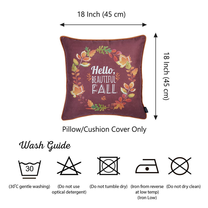 Fall Season Thanksgiving Leaf Crown Square Printed  Decorative Throw Pillow Cove