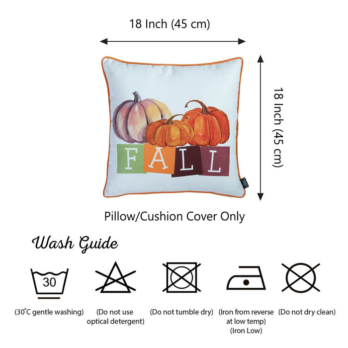 Fall Season Thanksgiving Festive  Square Printed  Decorative Throw Pillow Cover