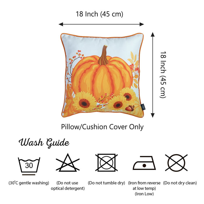 Fall Season Thanksgivingg Harvest Printed  Decorative Throw Pillow Cover 18''x 18''