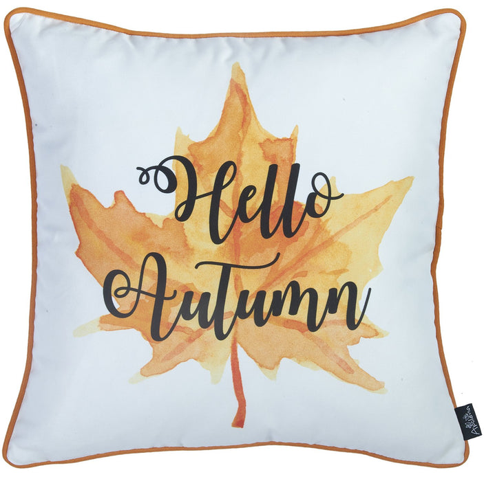 Fall Season Thanksgiving Leaf Quote Square Printed Decorative Throw Pillow Cover 18''x 18''