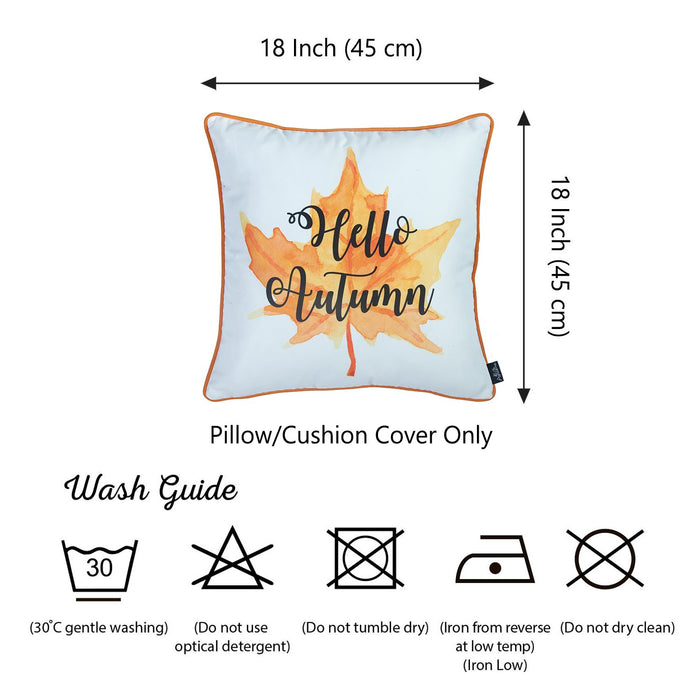 Fall Season Thanksgiving Leaf Quote Square Printed  Decorative Throw Pillow Cover