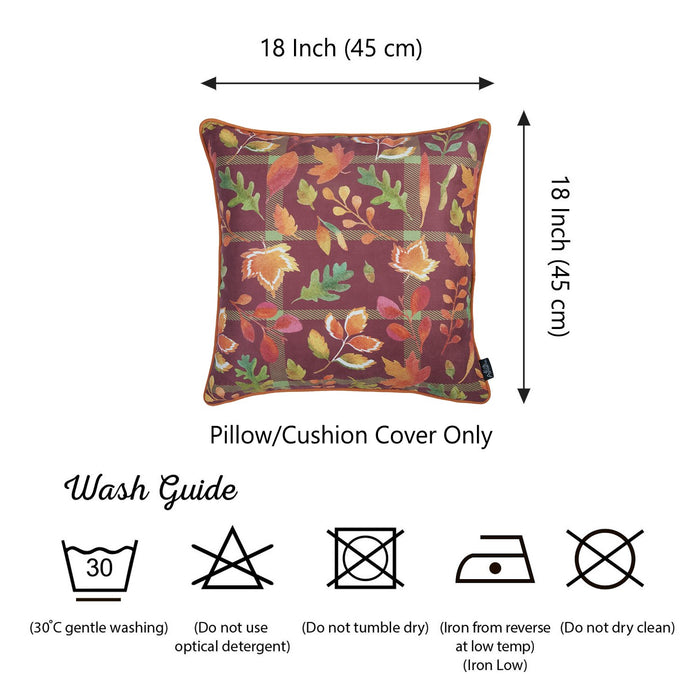 Fall Season Thanksgiving Leaf Square Printed  Decorative Throw Pillow Cover