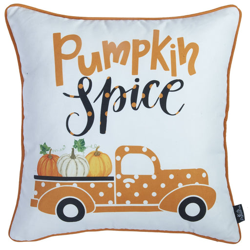 Fall Season Thanksgiving Pumpkin Spice Square Printed  Decorative Throw Pillow Cover 18''x 18''