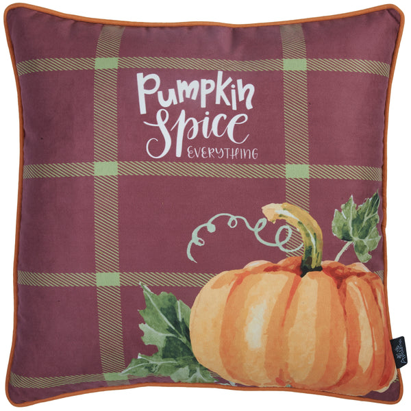 "Fall Season Thanksgiving Pumpkin Square Printed  Decorative Throw Pillow Cover 18""x 18"""