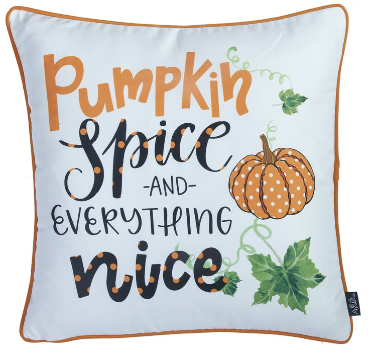 Fall Season Thanksgiving Pumpkin Quotes Square Printed  Decorative Throw Pillow Cover 18''x 18''