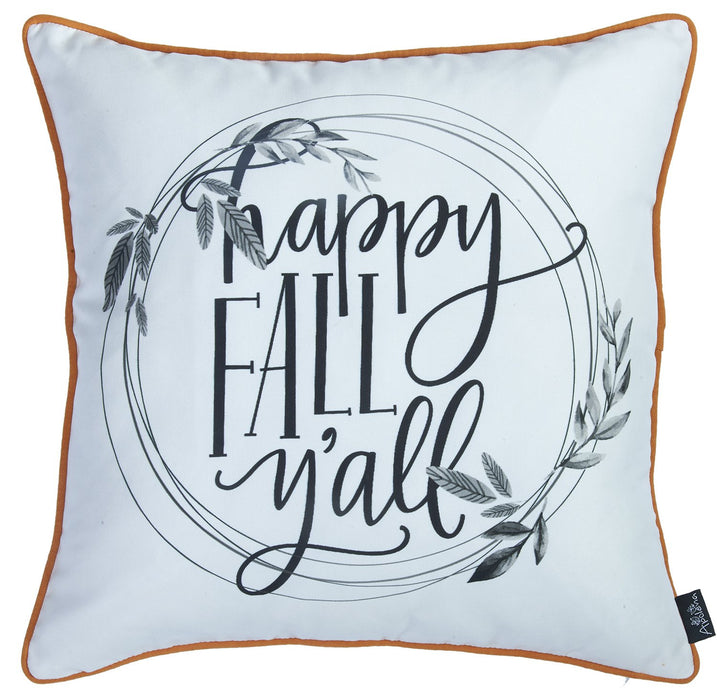 Fall Season Thanksgiving Quote Square Printed  Decorative Throw Pillow Cover 18''x18''