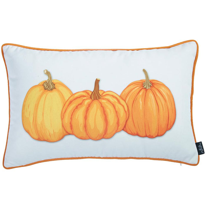 "Fall Season Thanksgiving Pumpkins Lumbar Throw Pillow Cover 12""x20"""