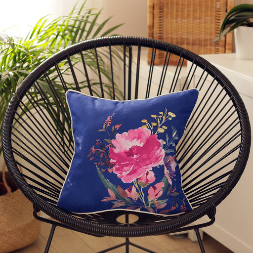 Watercolor Flowers Printed Blue Decorative Throw Pillow Cover 18''x18""