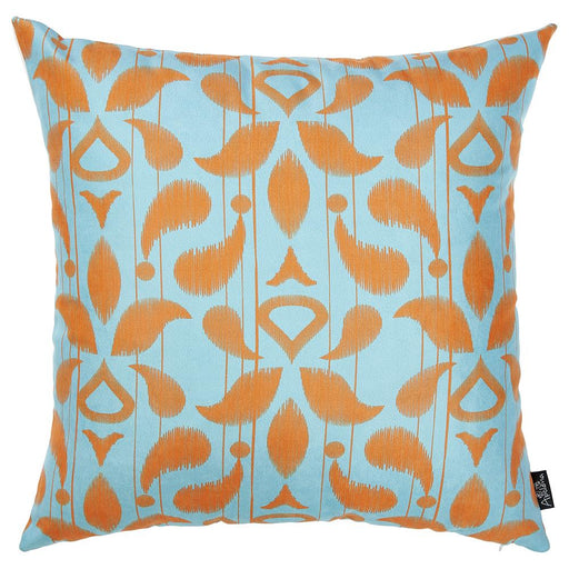 "Ikat Orange Blue Decorative Throw Pillow Cover Printed Home Decor 18""x18"""