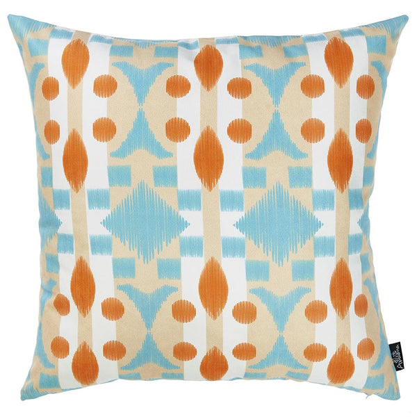 "Ikat Gray Blue Decorative Throw Pillow Cover Printed Home Decor 18""x18"""