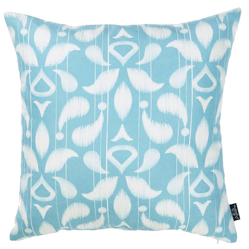 "Ikat Sky Blue Decorative Throw Pillow Cover Printed Home Decor 18""x18"""