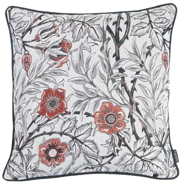 Jacquard Artistic Flower Decorative Throw Pillow Cover 17''x 17''