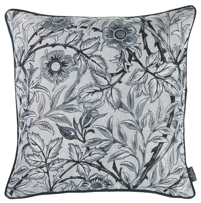 Jacquard Artistic Grey Leaf Decorative Throw Pillow Cover 17''x 17''