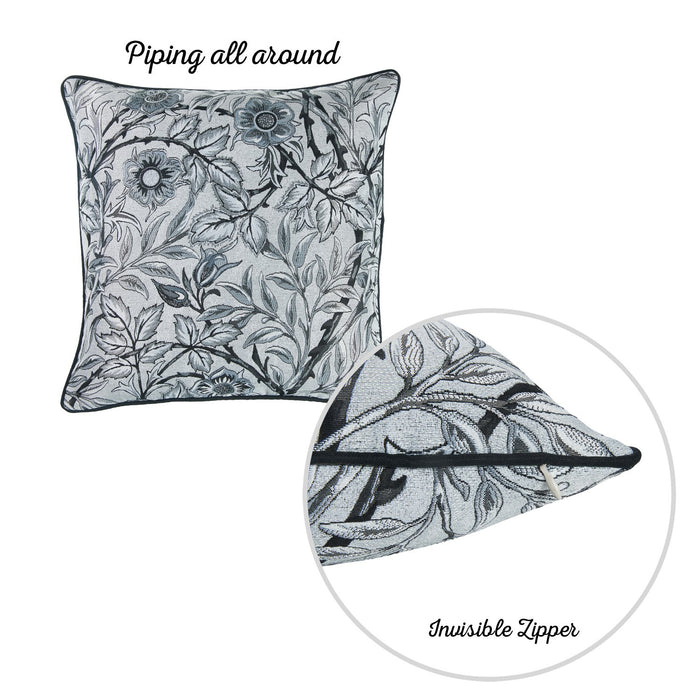 Jacquard Grey Leaf Decorative Pillow Cover 17''x 17'' (2 Pcs in set)