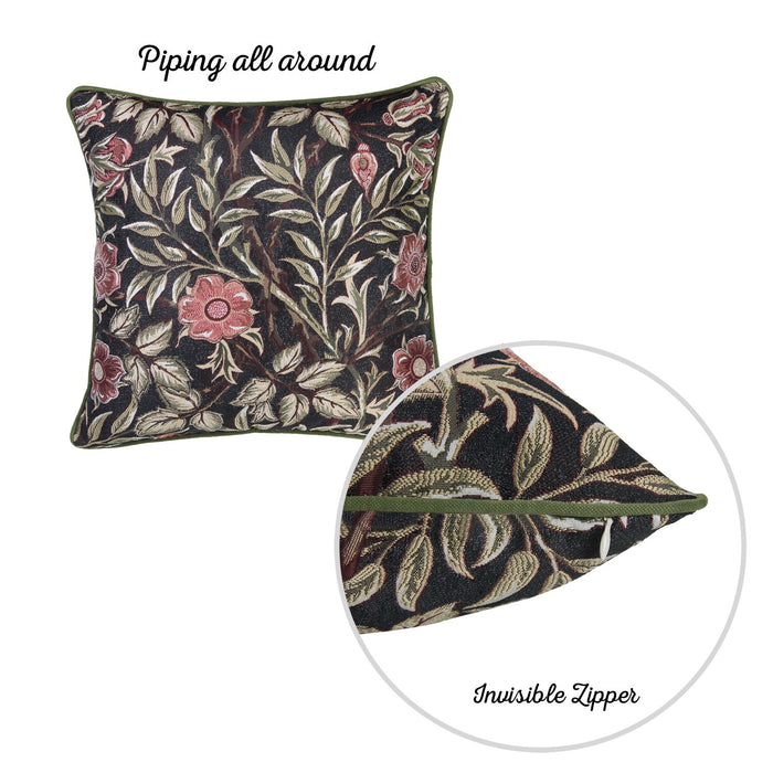 Jacquard Leaf Decorative Throw Pillow Cover 17''x 17'' (2 Pcs in set)