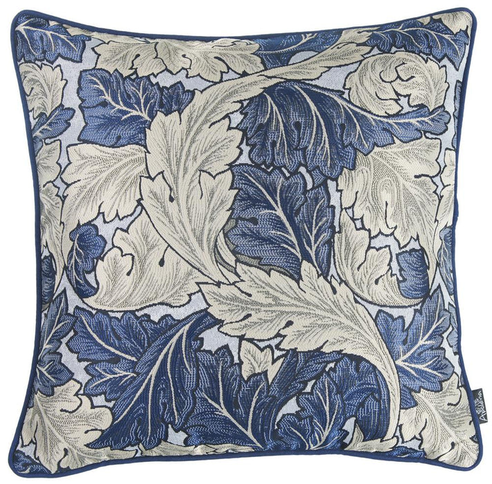 Jacquard Blue Leaf Decorative Throw Pillow Cover Home Decor 17''x 17''