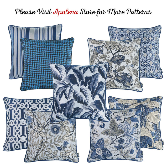 Jacquard Blue Leaf Decorative Throw Pillow Cover Home Decor