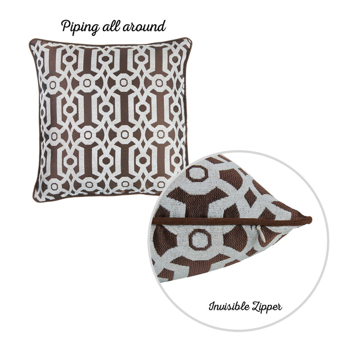 Jacquard Brown Geo Decorative Throw Pillow Cover Home Decor 17''x 17''